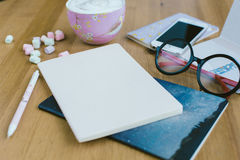 Top View of  Working Woman's items, Workspace with essential ite Royalty Free Stock Photos
