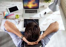 Top view workplace artist designer Royalty Free Stock Photo
