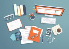 Top view of workplace background, monitor, books, notebook, headphones, phone, documents. Workspace analytics optimization. Management. Vector Royalty Free Stock Images