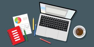 Top view of the workplace background, monitor, keyboard, notebook, headphones, phone, documents, folders, scheduler, pencils, stock illustration