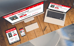 Top view workplace with devices showing responsive second-hand s. Top view of a computer, laptop, smartphone and tablet with second hand shop responsive website royalty free illustration