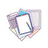 Top view of workplace with documents. Concepts for business analysis, consulting, and financial audit. Brainstorm and calculations. Vector illustration Royalty Free Stock Images