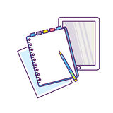 Top view of workplace with documents. Concepts for business analysis, consulting, and financial audit. Brainstorm and calculations. Vector illustration Stock Photos