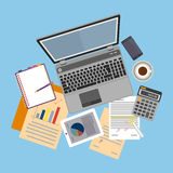 Top view of workplace with documents and laptop. Concepts for business analysis, consulting, teamwork, project management, financial report and strategy Stock Images