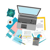 Top view of workplace with documents and laptop. Concepts for business analysis, consulting, teamwork, project management, financial report and strategy Stock Photos