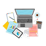 Top view of workplace with documents and laptop. Concepts for business analysis, consulting, teamwork, project management, financial report and strategy Royalty Free Stock Photography