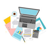 Top view of workplace with documents and laptop. Concepts for business analysis, consulting, teamwork, project management, financial report and strategy Royalty Free Stock Images