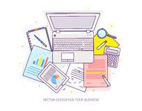 Top view of workplace with documents and laptop. Concepts for business analysis, consulting, teamwork, project management, financial report and strategy Royalty Free Stock Image