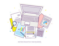 Top view of workplace with documents and laptop. Concepts for business analysis, consulting, teamwork, project management, financial report and strategy Stock Photo