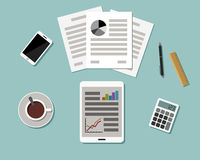 Top view of Workplace. Flat design. Stock Photography