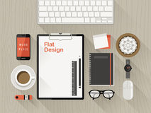 Top view of workplace in flat design Stock Photo