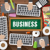 Top View Workplace With Office Supplies Objects Royalty Free Stock Images