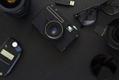Top view of workplace Photographer. With copy space Royalty Free Stock Photo