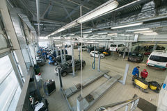 Top view of the workshop service station Royalty Free Stock Photos