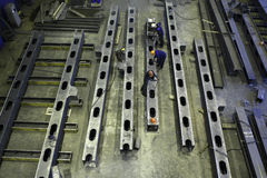 Top view of workshop to produce steel construction beams. Royalty Free Stock Images