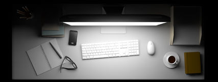 Top view of workspace with computer and other elements on table. Royalty Free Stock Image