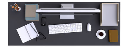 Top view of workspace with computer and other elements on table. Royalty Free Stock Photo