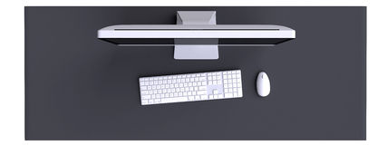 Top view of workspace with computer and other elements on table. Stock Photo