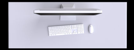 Top view of workspace with computer and other elements on table. Royalty Free Stock Images