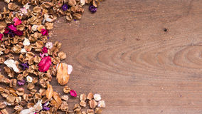 Top view workspace with dried flowers on wooden table background. Free space for your text Stock Photos