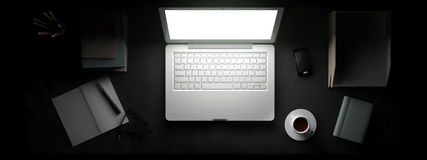 Top view of workspace with laptop on table. stock illustration
