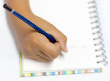 Top view of writing hand Stock Photography