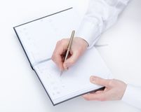 Top view of writing hand of manager Stock Images