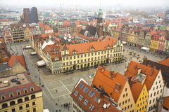 Top view of Wroclaw old town from the top of the tower of the church of Saint Elizabeth. Stock Photo