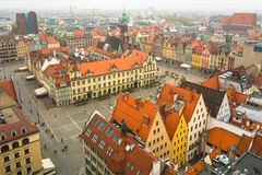 Top view of Wroclaw old town from the top of the tower of the church of Saint Elizabeth. Stock Images