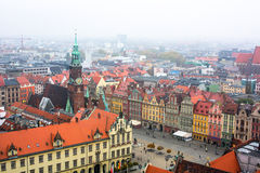 Top view of Wroclaw old town from the top of the tower of the church of Saint Elizabeth. Royalty Free Stock Photography