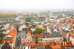 Top view of Wroclaw old town from the top of the tower of the church of Saint Elizabeth. Royalty Free Stock Image