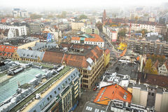 Top view of Wroclaw old town from the top of the tower of the church of Saint Elizabeth. Royalty Free Stock Images