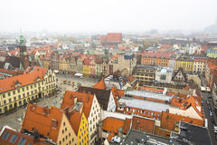 Top view of Wroclaw old town from the top of the tower of the church of Saint Elizabeth. Stock Image