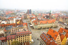 Top view of Wroclaw Old Town from top of Tower Saint Elizabeth Church. Stock Photo