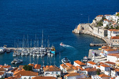 Top view of the yacht Marina of Hydra island Royalty Free Stock Image