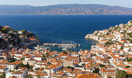 Top view on the Yacht marina of Hydra island Royalty Free Stock Images