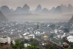 Top view Yangshuo, China, town of karst hills, morning, spring. Royalty Free Stock Photo