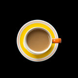 Top view yellow coffee cup isolated on black. Saved with clippin Stock Photography