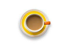 Top view yellow coffee cup  on white Royalty Free Stock Photography