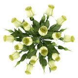 Top view of yellow eustoma flowers in glass vase isolated on white Royalty Free Stock Images