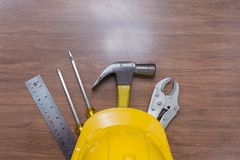 Top view of yellow safety helmet royalty free stock images