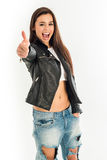 Top view of young attractive woman Royalty Free Stock Images