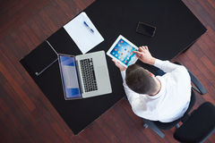 Top view of young business man at office Royalty Free Stock Image