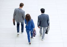 Top view.young business people walk together. Photo with copy space royalty free stock photography