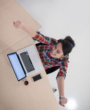 Top view of young business woman working on laptop Royalty Free Stock Image