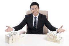 Top view of young businessman show body language to invite with. Top view of happy young businessman show body language to invite with the open hand wide, among Royalty Free Stock Photo
