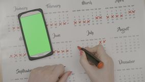 Top view of young entrepreneur girl hands checking green screen smartphone and marking calendar days off with red marker -. Top view of young entrepreneur girl stock footage