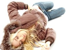 Top view of young laying model Royalty Free Stock Photo