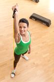Top view of young pretty fit woman exercising. Stock Photography