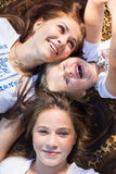 Top view of young sisters girls laughing happily royalty free stock photos